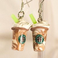 Starbucks earrings polymer clay chocolate vanila milkshake kawaii miniature cute dungle