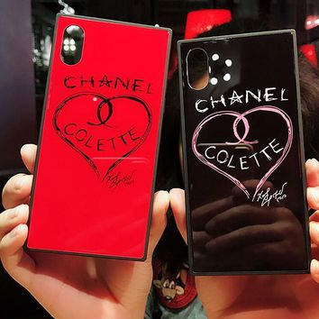 "Chanel Popular Creative Luxury ""Loving Heart"" Pattern For Iphone 7plus X iPhone 6s/8plus Cute Lovers Glass Iphone Shell Case I12065-1"