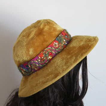 Vintage 1960's Milady Gold Fur Hat, Amy New York Vintage Floppy Hat, Jeweled Hatband, Bucket Hat, Groovy Felted Fur Hat, Wonderful Condition