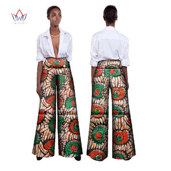 BRW African Fabric Wax Print High Waist Loose Pants Plus Size African Clothes for Women Office Bazin Riche Wide Leg Pants WY392