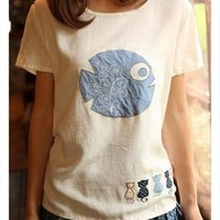 We Want Fish Cartoon Embroidery T-shirt