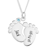 Baby Feet Personalized Pendent for Boys - STERLING SILVER