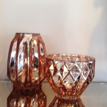 GLASS COPPER VASE + BOWL