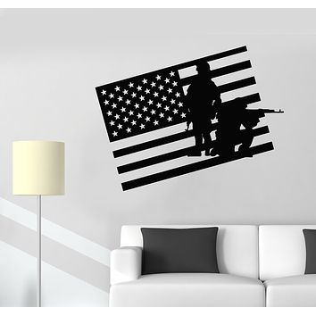 Vinyl Wall Decal Soldiers American Flag USA Patriotic Military Stickers Mural (g2710)