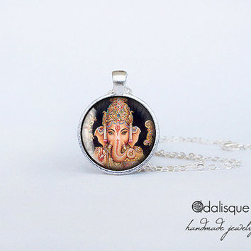 Handmade Lord Ganesha Pendant Hindu Ganesh God Necklace Indian God Jewelry Birthday Gift Round Glass Silver Pendant
