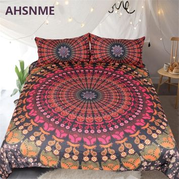 AHSNME Warm Red Round Geometric Design Pattern Quilt Cover Pillow Bohemian Patterned Bedding Set Home Textiles Supplies