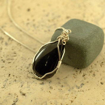 Natural stone Black Tourmaline Schorl pendant pear shape sterling silver wire wrapped with a silver plated snake chain necklace
