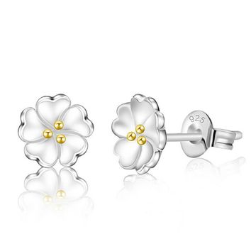 925 silver flower tiny studs earrings gift box  number 1
