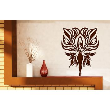 Large Vinyl Decal Fairy Girl Tribal Fire Flame Wings Unique Gift Wall Stickers (n630)