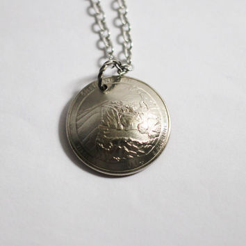 Coin Necklace, U.S. Quarter Pendant, Shenandoah, Virginia, America the Beautiful, 2014 Jewelry Hendywood