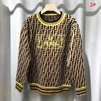 Fendi Autumn And Winter New Fashion Embroidery Letter More Print High Quality Women Men Long Sleeve Top Sweater 2#
