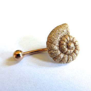 Rose Gold Glitter Nautilus Seashell Sea Shell Belly Button Jewelry Ring Glittery Spiral Stud Navel Piercing Bar Barbell Azeetadesigns