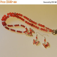 CIJ SALE Classic Red and White Butterfly Necklace and earrings  V4613
