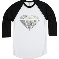 Flower Diamond-Unisex White/Black T-Shirt