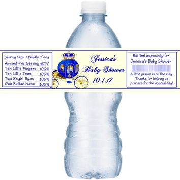 21 Prince Baby Shower Water Bottle Labels Carriage