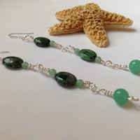 Green dangle earrings - ruby zoisite and adventurine gemstone earrings - stone earrings - handmade earrings