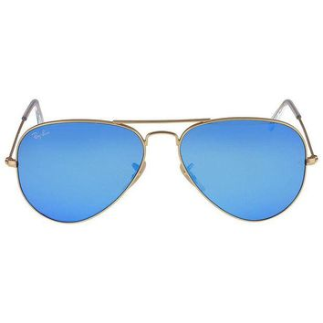 Gotopfashion Ray-Ban Aviator Metal Gold Frame Crystal Blue Mirrored Lenses Large Sunglasses