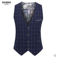 Plaid England Style Brand Men Vest Autumn Spring Formal Waistcoat For Men Slim Fit Fashion Men'S Vest A2842