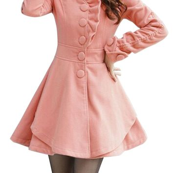 ADW 2017 NEW Women's Wool Blends Coat Slim Trench Coat Long Jacket pink