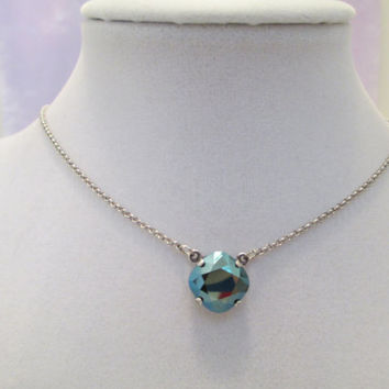 Swarovski necklace , single stone, metallic blue, antique silver, minamalist, bridesmaid gift, classy  #187
