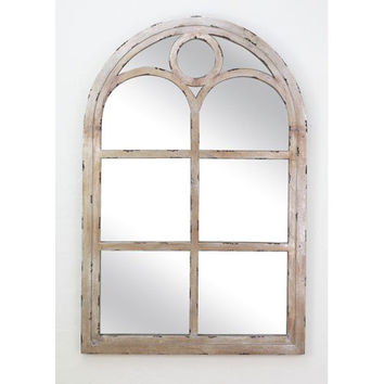 Dr. Livingstone I Presume DLW589DS Distressed Silver Wood Arch Top Window Pane Mirror
