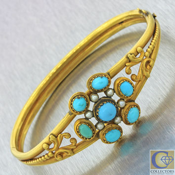 1880s Antique Victorian 14k Solid Yellow Gold Turquoise Seed Pearl Bracelet