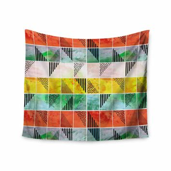 """bruxamagica """"Tartan Coral Gold Green"""" Gold Coral Abstract Pattern Digital Vector Wall Tapestry"""