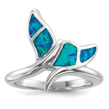 Sterling Silver Blue Inlay Created Opal Whale Tail Ring