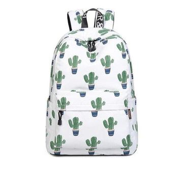 University College Backpack Women  Preppy Style Female  Students Back Pack Large Capacity Cute cactus Pattern Printing Girls Knapsack W-29-60AT_63_4