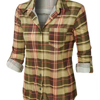 LE3NO Womens Plaid Roll Up Sleeves Button Down Shirt with Lace Detail