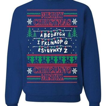 One-nice™ Stranger Things Upside Down Ugly Christmas Sweater Unisex Sweatshirt Blue I