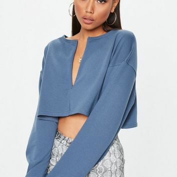 Missguided - Slate Grey Inserted Zip Front Crop Sweatshirt