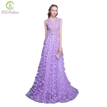 SSYFashion 2017 New Long Banquet Evening Dress The Bride Sweet Purple Lace Flower Sleeveless Floor-length Prom Party Gowns