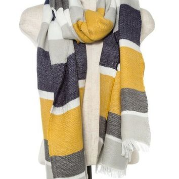 Yellow Blue Colorblock Scarf