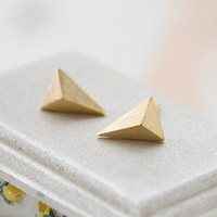 Triangle Stud Earrings- Gold // E0510-GD // Everyday Jewelry, Birthday Gift