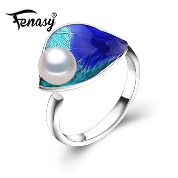 FENASY engagement ring,2017 new fashion Cloisonne Pearl rings,bohemian jewelry rings for Women Wedding Ethnic ring Creativity