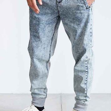 Native Youth Acid Wash Denim Slim-Fit Jogger Pant- Light Blue