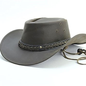 Lucky Trails Men's Braided Band w/Concho and Studs Smooth Leather Cowboy Hat (Medium, Brown)