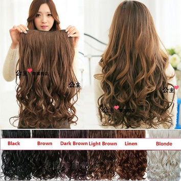 Clip in Hair Extensions Sexy Long Curly  Human Hair Extensions Synthetic Wig [7983437959]