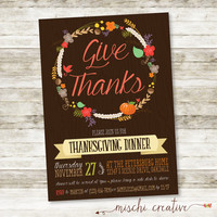 Give Thanks - Rustic Autumn Leaves Thanksgiving Party Digital Printable Invitation