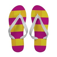"""Pink and Yellow"" Abstract Flip Flops"