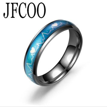 ECG Lovers Heartbeat Mood Ring Color Temperature Changing  Wedding Rings