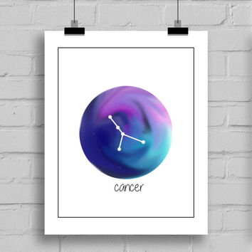 Cancer Constellation Watercolor Nebula Wall Art Print - Zodiac Themes Printable Home Decor Wall Art (JPG/PDF) 8x10