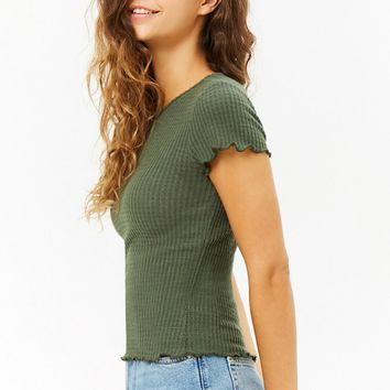 Lettuce-Edge Brushed-Knit Top