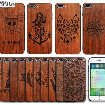 Monila Retro Natural Real Handmade Carving Bamboo Wood Cover Case For Iphone 6 6s plus 7 7 plus Wood Case + Black Soft TPU Frame