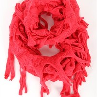 Infinity Scarf with Netted Design and Fringe