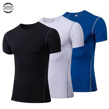 Yuerlian Quick Dry Compression Men's Short Sleeve T-Shirts Running Shirt Fitness Tight Tennis Soccer Jersey Gym Demix Sportswear
