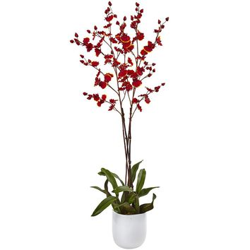 Silk Flowers -Dancing Orchid With White Glass Vase Artificial Plant