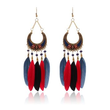 Feather Earrings for women bohemian style long dangle earring