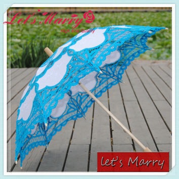 Vintage Light Blue Lace Embroidery Umbrella Cotton Battenburg Wedding Bridal Umbrella Parasol Umbrella Decoration Free Shipping